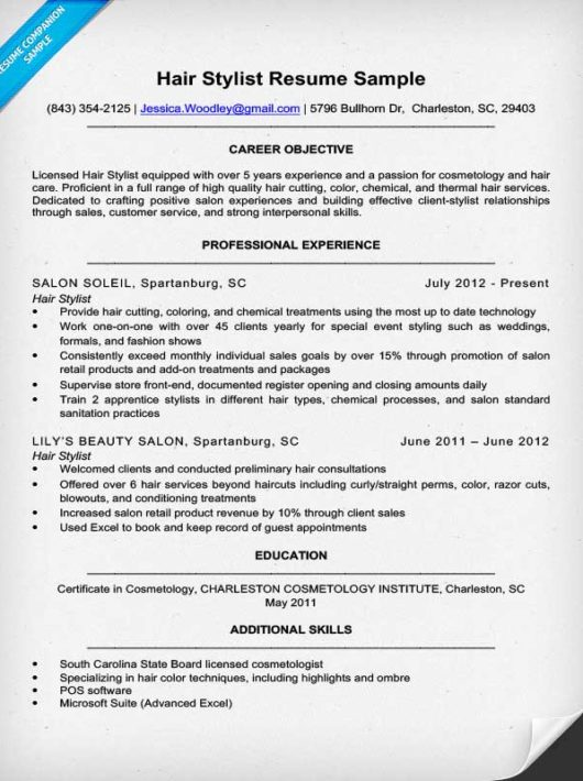 Hair Stylist Resume Sample \ Expert Writing Tips Resume Companion - hair stylist resume example