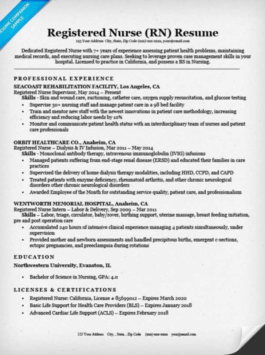 free registered nurse resume examples
