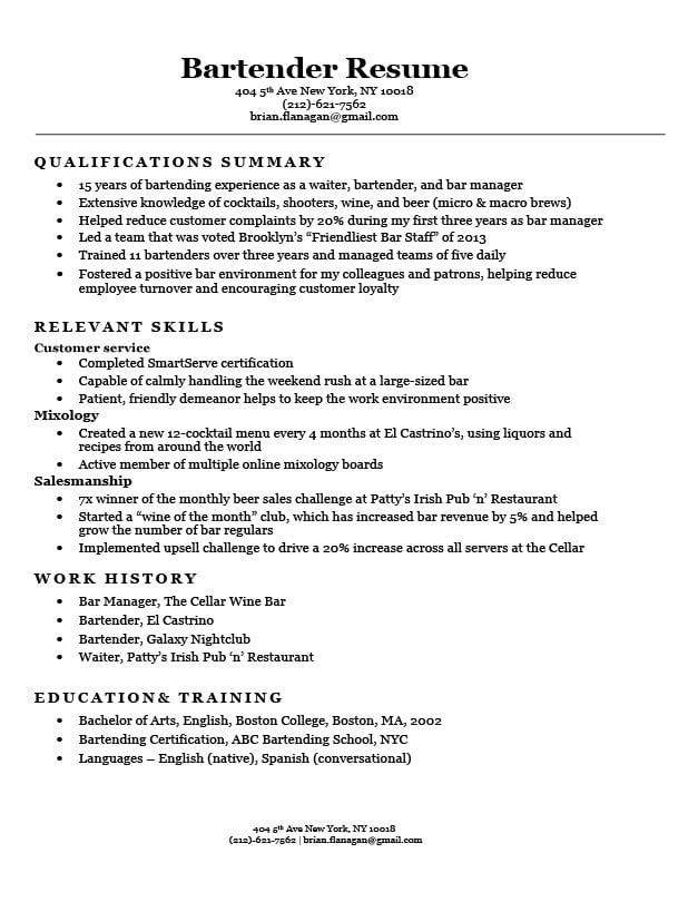 Bartender Resume Sample  Writing Tips Resume Companion - bartender sample resume