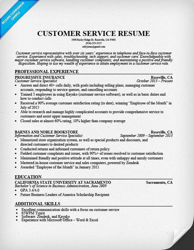 Resume Examples For Customer Service Position Sample Customer - sales support representative sample resume