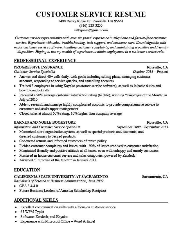 Customer Service Resume Sample - Resume Companion - sample resume for customer service position