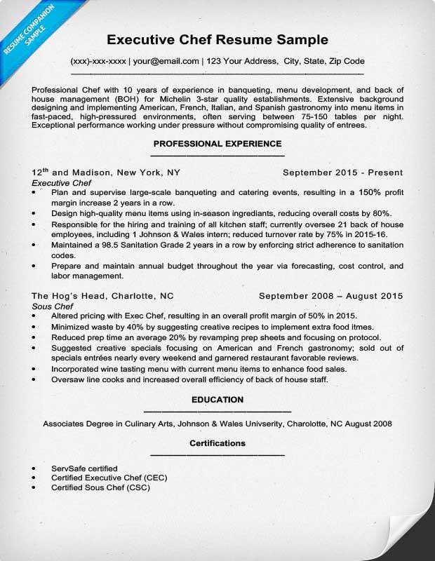 executive chef resume template datariouruguay - executive chef job description