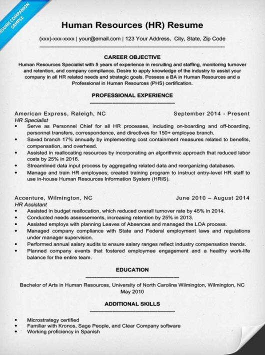 Human Resources Resume Sample \ Writing Tips Resume Companion - human resource resumes
