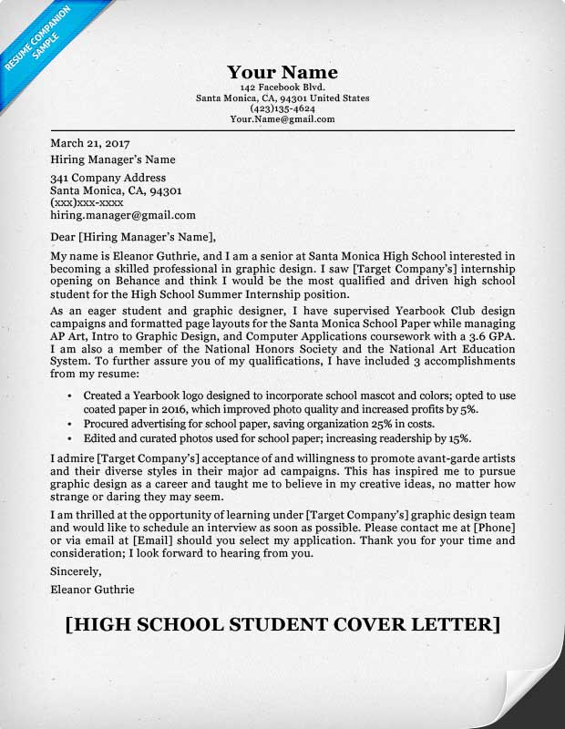 examples of cover letters for resumes for high school students
