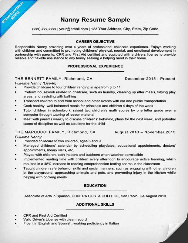 Resume Nanny  Resume With Achievements Section
