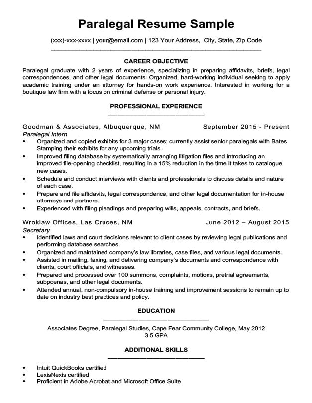Paralegal Resume Sample  Writing Tips Resume Companion - criminal defense attorney sample resume