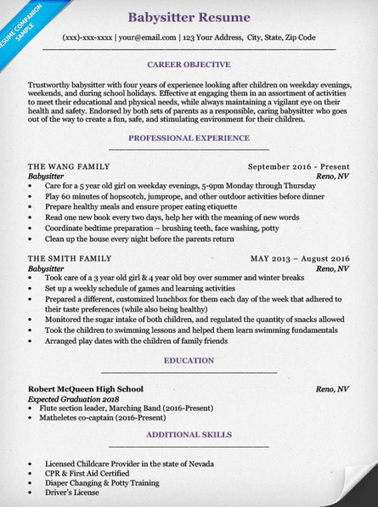 sample resume with babysitting experience