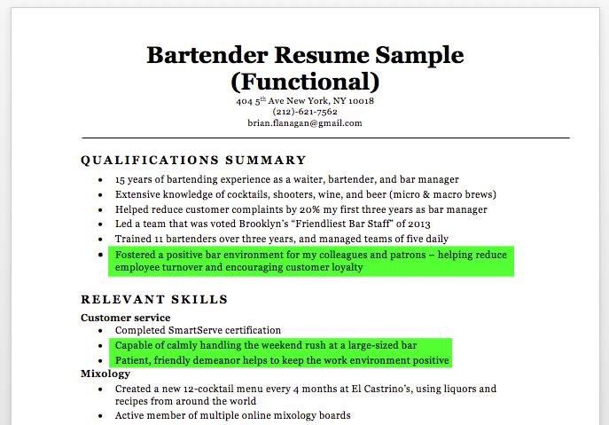 bartender resume skills