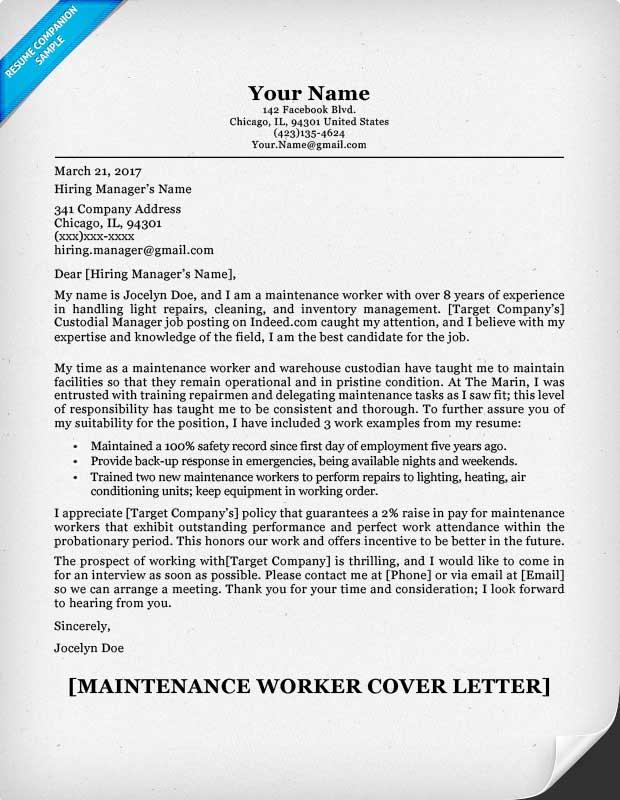 Maintenance Worker Cover Letter Sample Resume Companion - resume for maintenance worker
