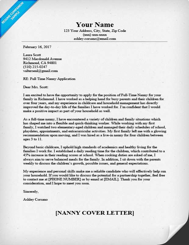 Nanny Cover Letter Sample \ Writing Tips Resume Companion - what should be on a cover letter for a resume