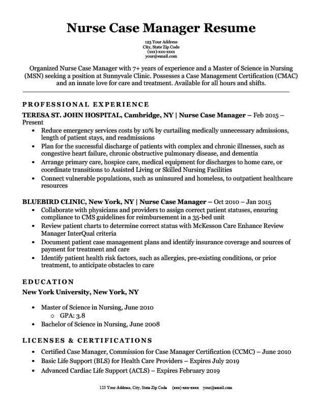 resume objective for insurance case manager