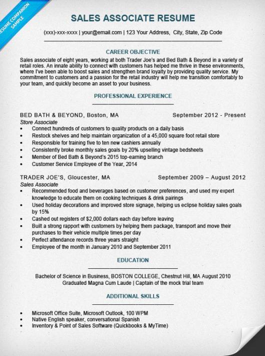 Sales Associate Resume Sample \ Writing Tips Resume Companion - sample sales associate resume