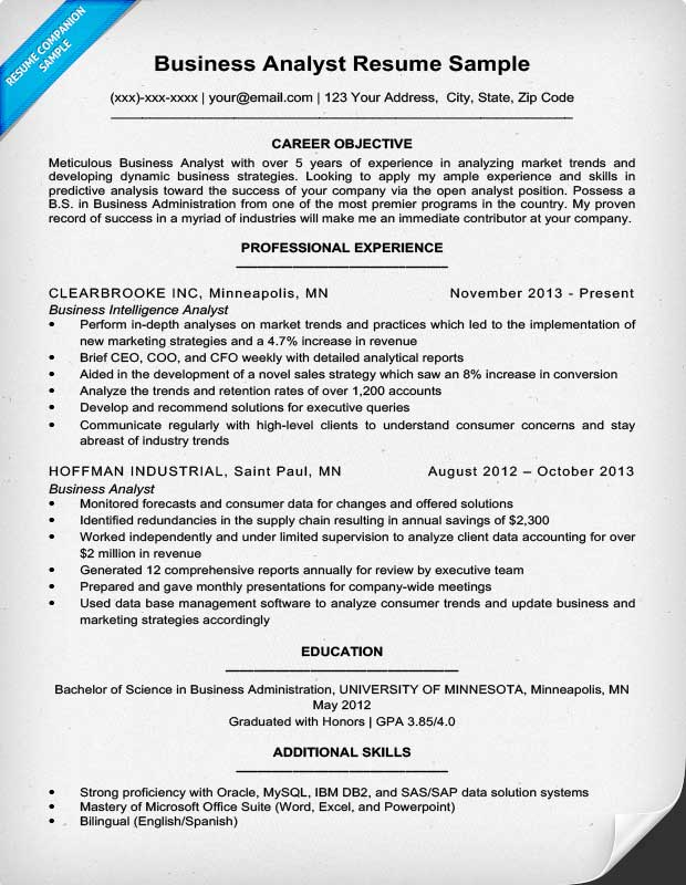 Business Resume Examples Sample Resume For Business Analyst Entry