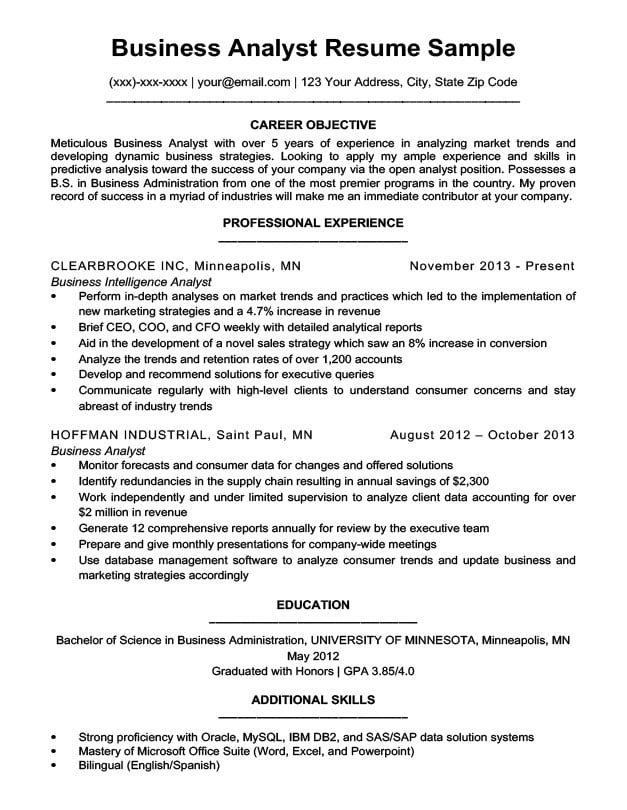 Business Analyst Resume Sample  Writing Tips Resume Companion - Business Analytics Resume