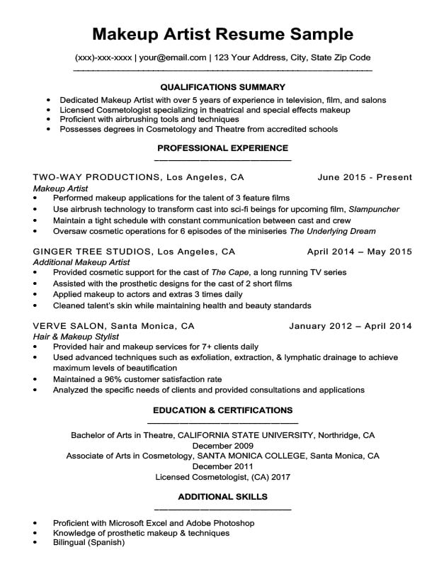 Makeup Artist Resume Sample Resume Companion - makeup artist resumes