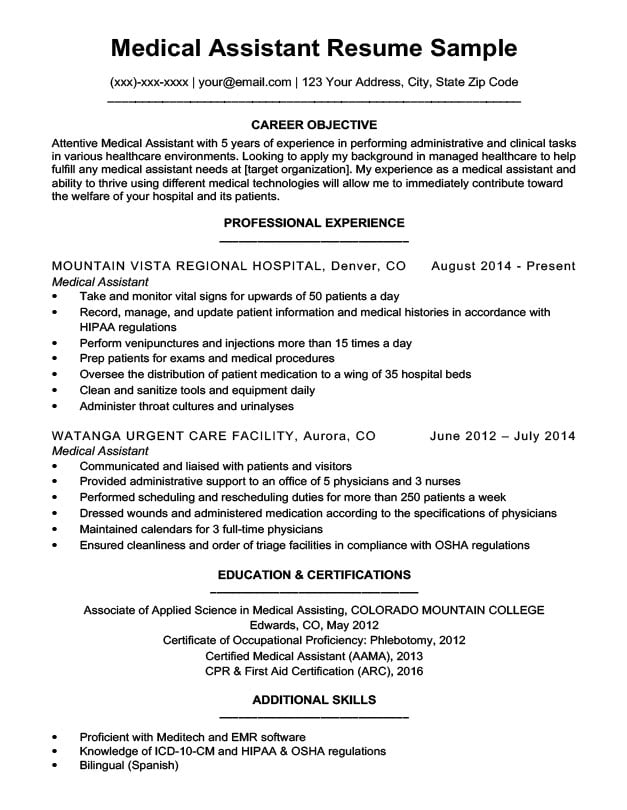 Medical Assistant Resume Sample Resume Companion - medical assistant certificate