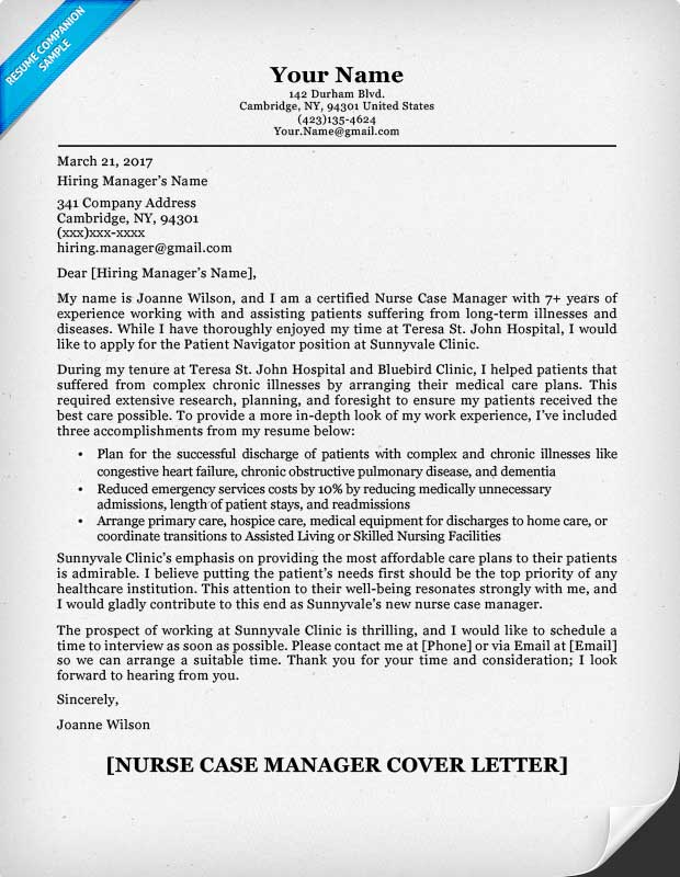 Case Manager Cover Letter Free Sample Cover Letter For Case Manager