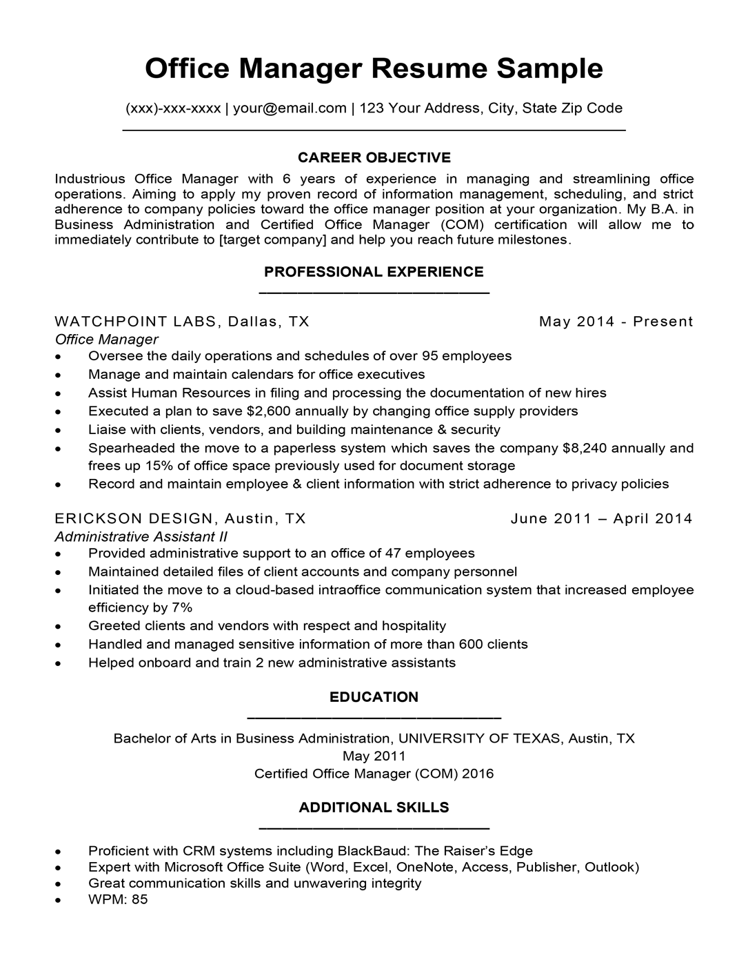 office manager resume objective
