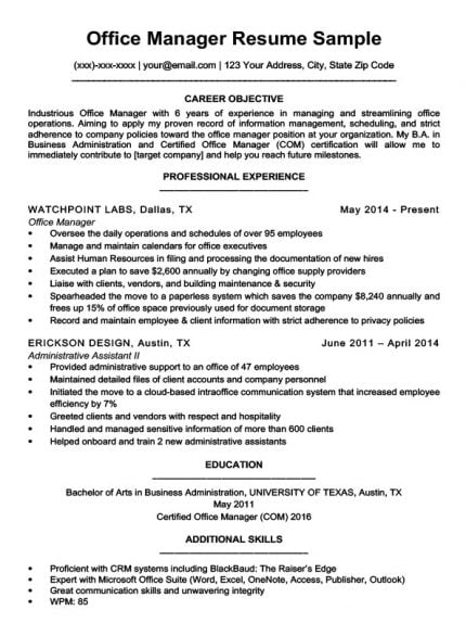 example of administrative lab director resume