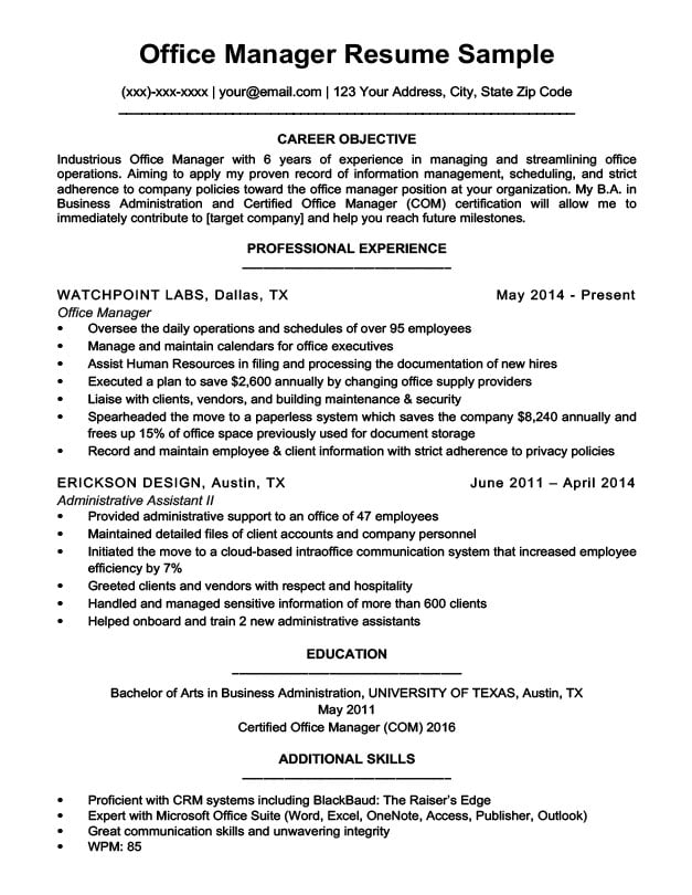 professional resume examples office manager