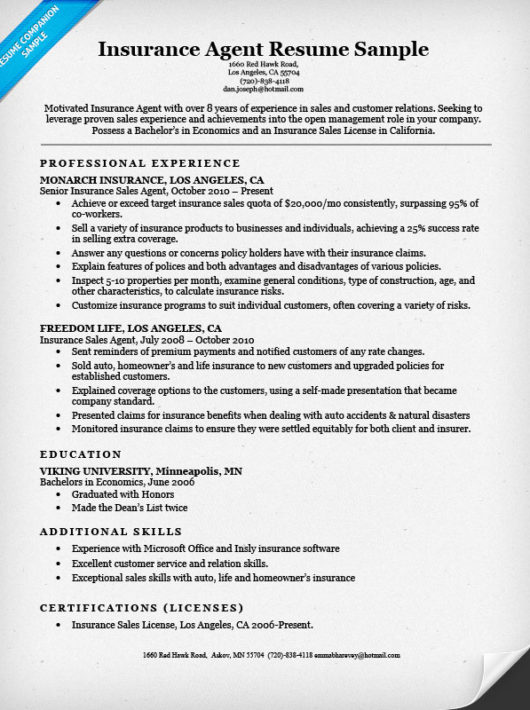 Insurance Agent Resume Examples - Examples of Resumes - allstate insurance adjuster sample resume