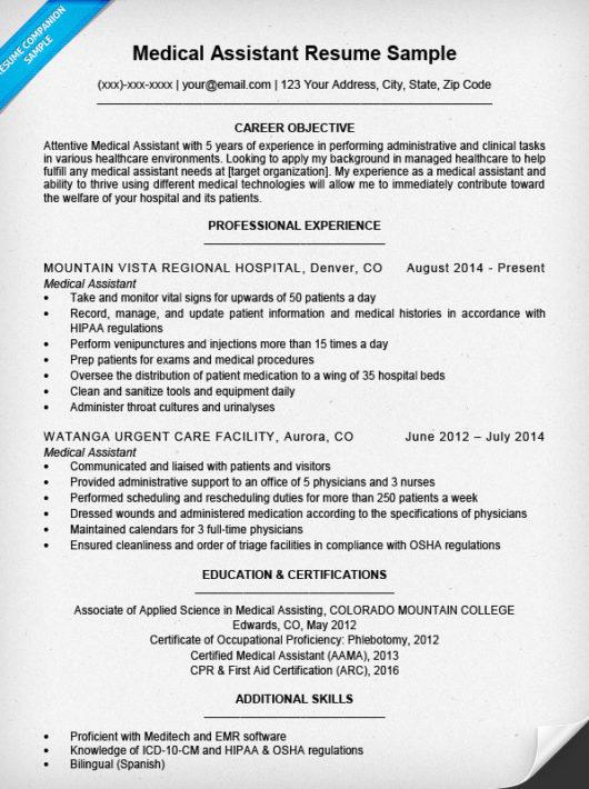 Medical Assistant Resume Sample Resume Companion - medical assitant resume