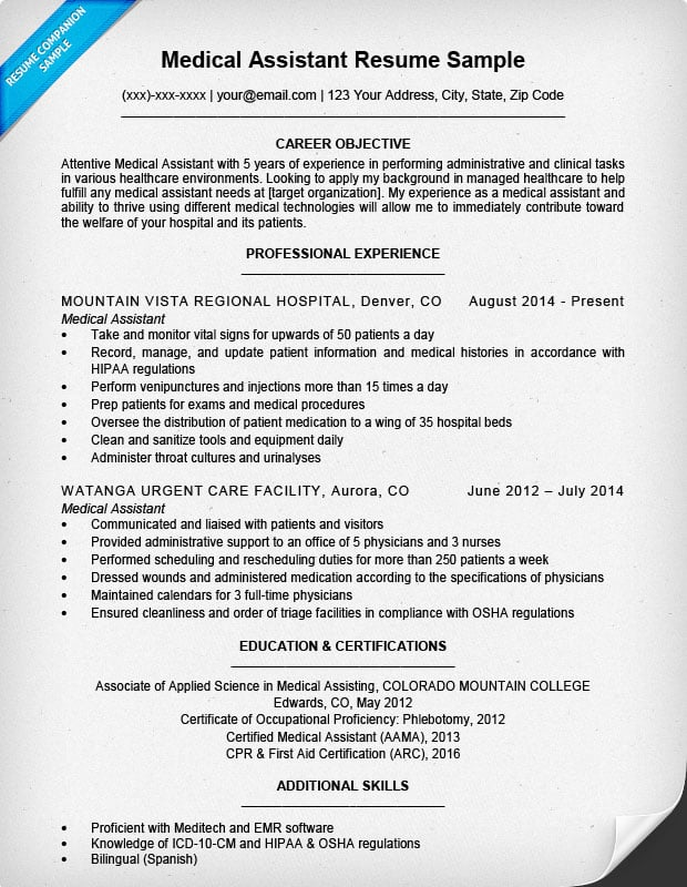 Resume For Medical Assistant - healthcare architect sample resume