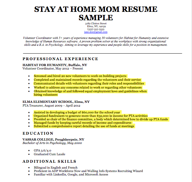 example stay at home mom resume