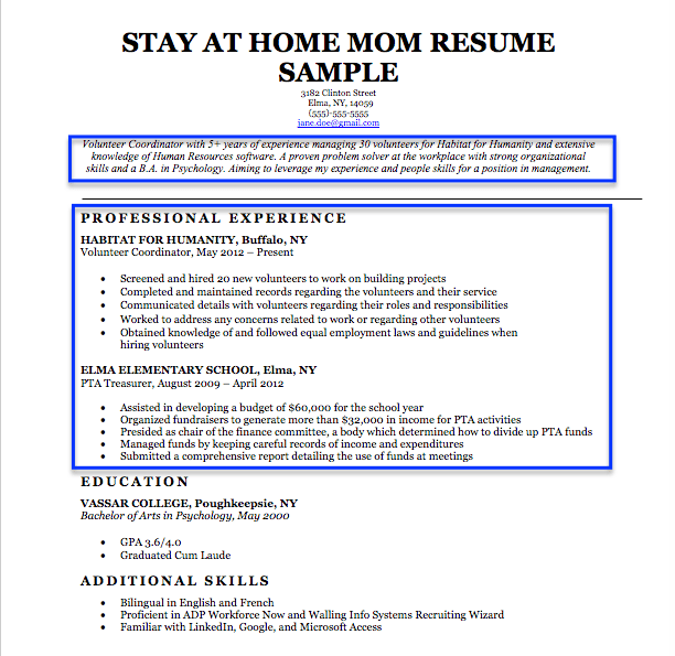 stay at home mom resume examples stay at home mom sample resume