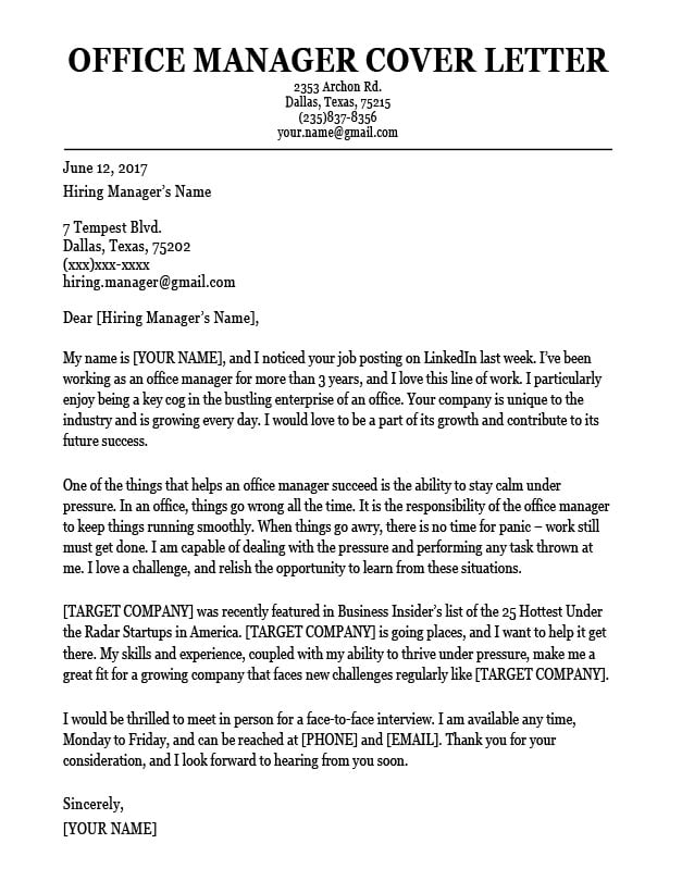 resume cover letter for medical office manager