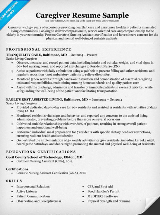 Caregiver Resume Sample \ Writing Tips Resume Companion - email resume sample