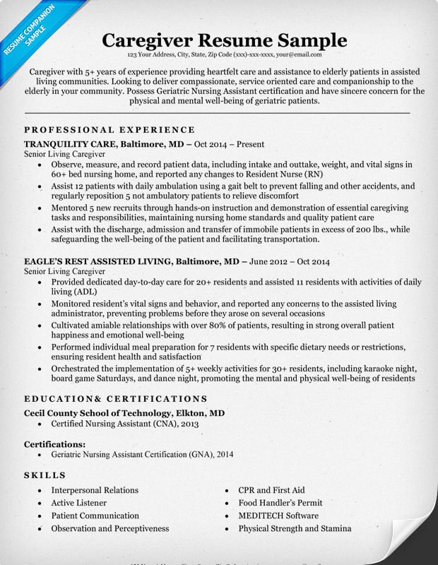 Caregiver Resume Caregiver Resume Sample Caregiver Resume Sample - resume samples for caregiver