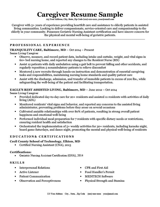 Caregiver Resume Sample  Writing Tips Resume Companion