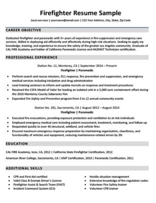 Downloadable Firefighter Resume Sample Resume Companion