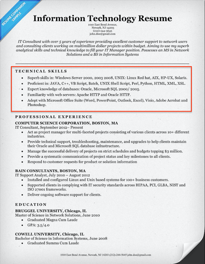 technology skills resume examples