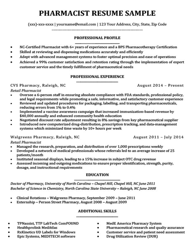 Pharmacist Resume Sample  Writing Tips Resume Companion - Walgreens Pharmacist Sample Resume