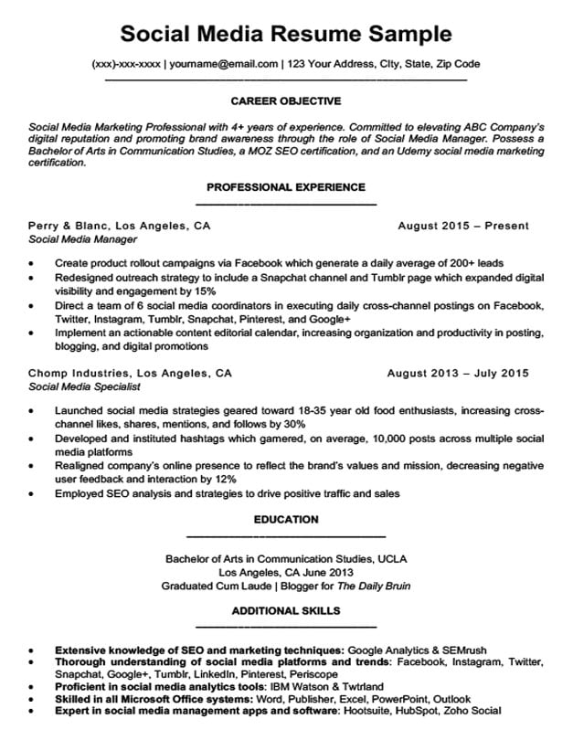 Social Media Resume Sample  Writing Tips Resume Companion