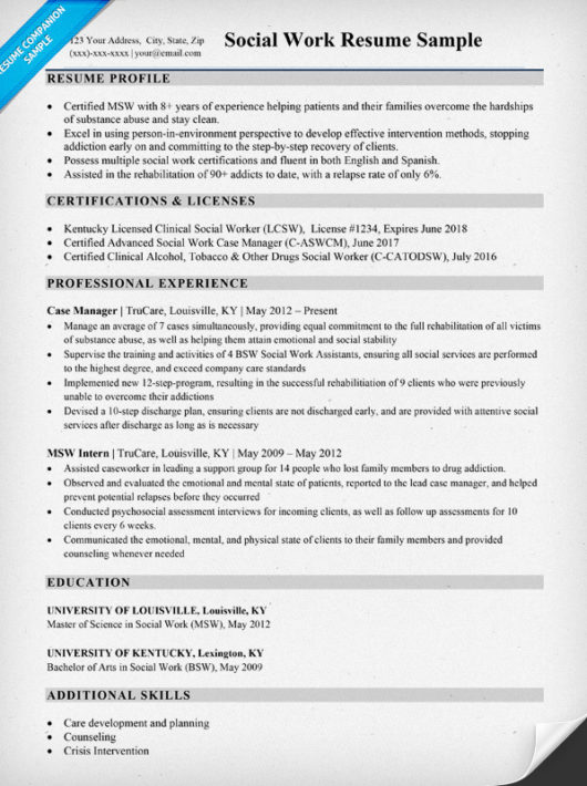 social work resume sample writing tips resume companion social worker resumes