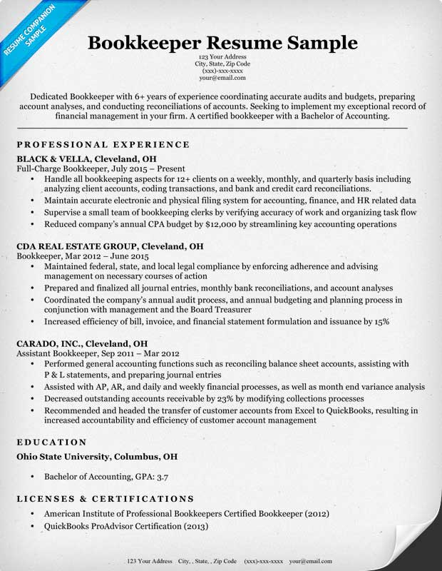 Bookkeeper Resume Examples Bookkeeper Cover Letter Bookkeeping