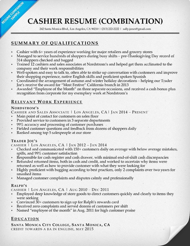 Cashier Resume Template Cashier Resume Examples Retail Cashier - sample resume with summary of qualifications