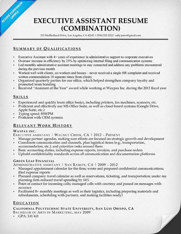 Executive Assistant Resume Example Resume Companion - executive assistant resume summary