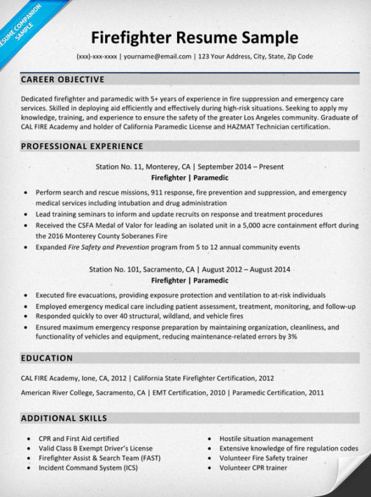resume examples when applying to a firefighter