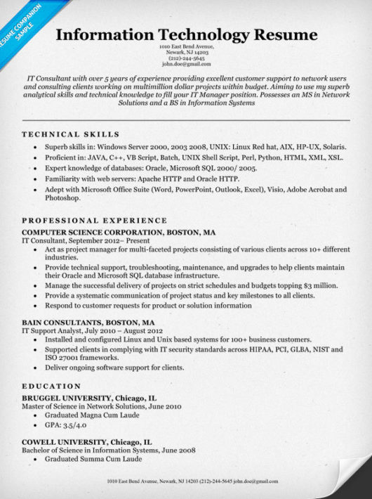 information technology it resume sample resume companion technical resume tips