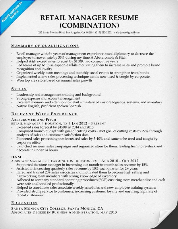 Retail Manager Resume Sample \ Writing Tips Resume Companion - summary of qualifications resume examples