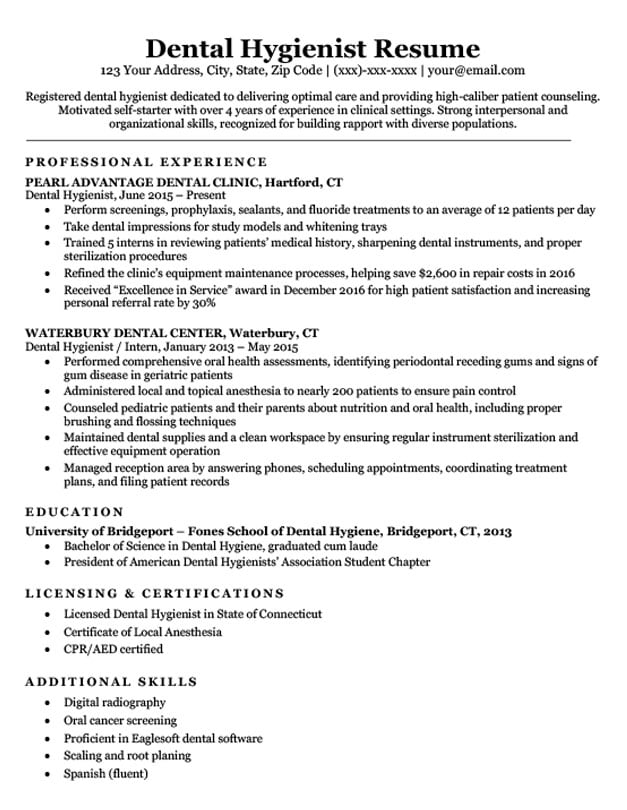 Dental Hygienist Resume Sample  Writing Tips Resume Companion - Dental Resume Templates