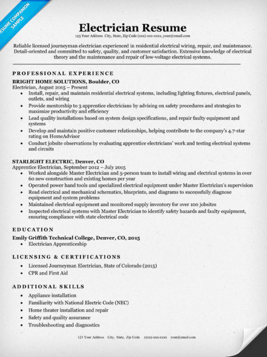 resume bullet points for electrician