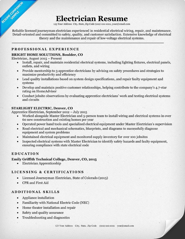 free resume builder for electrician