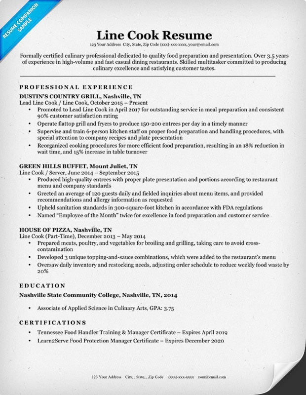 Cook Resume Line Cook Resume Examples Powerful Line Cook Resume