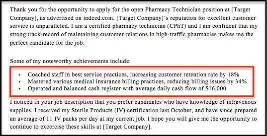 achievements on job application example