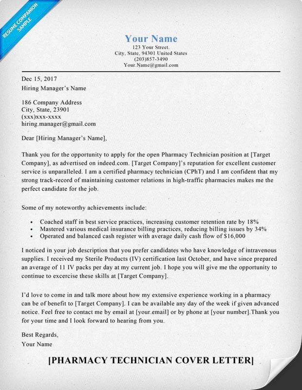 sample resume for pharmacy technician position